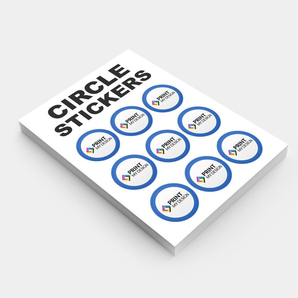 190gsm circle stickers print my design