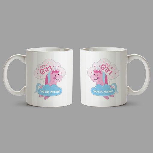 Personalised Mug - Unicorn mug - It's a girl