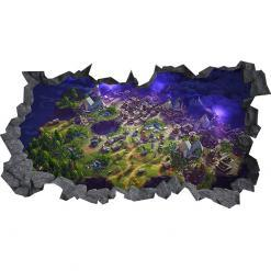 Fortnite Map 3D Hole in The Wall C Effect Wall Sticker Art Decal Mural
